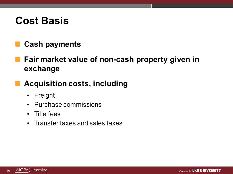 5 Cost Basis Cash payments Fair market value of non-cash property given in exchange Acquisition costs, including Freight Purchase commissions Title fe