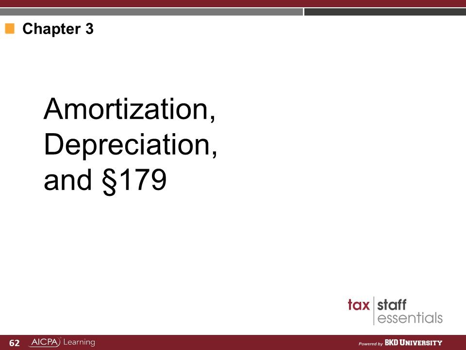 A Customized Curriculum for Firms 62 Amortization, Depreciation, and §179 Chapter 3
