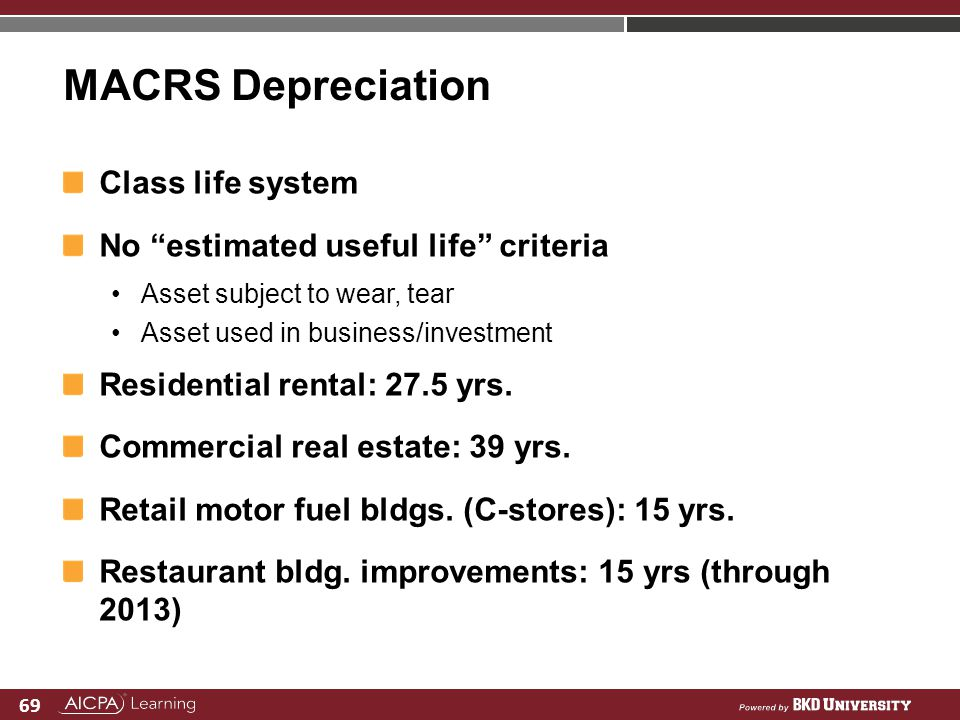 69 MACRS Depreciation Class life system No estimated useful life criteria Asset subject to wear, tear Asset used in business/investment Residential re