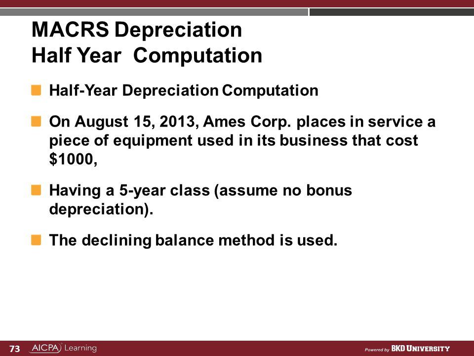 73 MACRS Depreciation Half Year Computation Half-Year Depreciation Computation On August 15, 2013, Ames Corp. places in service a piece of equipment u