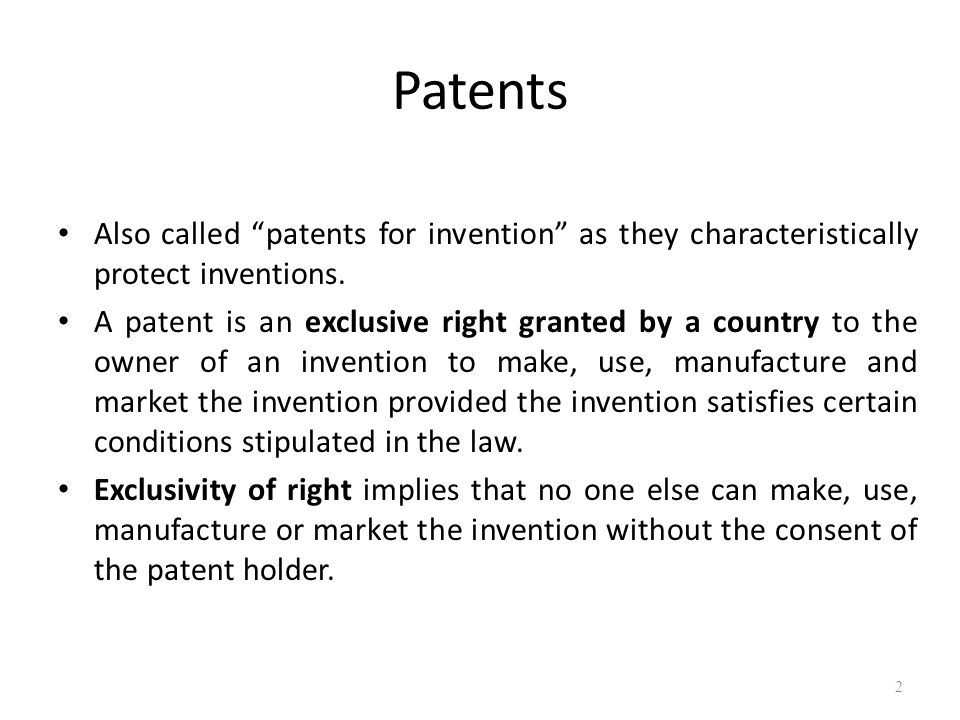 Patents and Economic Growth The patent system provides a social benefit as it bestows monetary reward for revealing technological innovation along with accolades for the inventor Patent is an award for the inventor and a reward for the investor By virtue of the grant, patentee gets the exclusive right to prevent the third parties (not having his consent) from the act of making, using, offering for sale, selling or importing the patented product or process within the territory of grant.