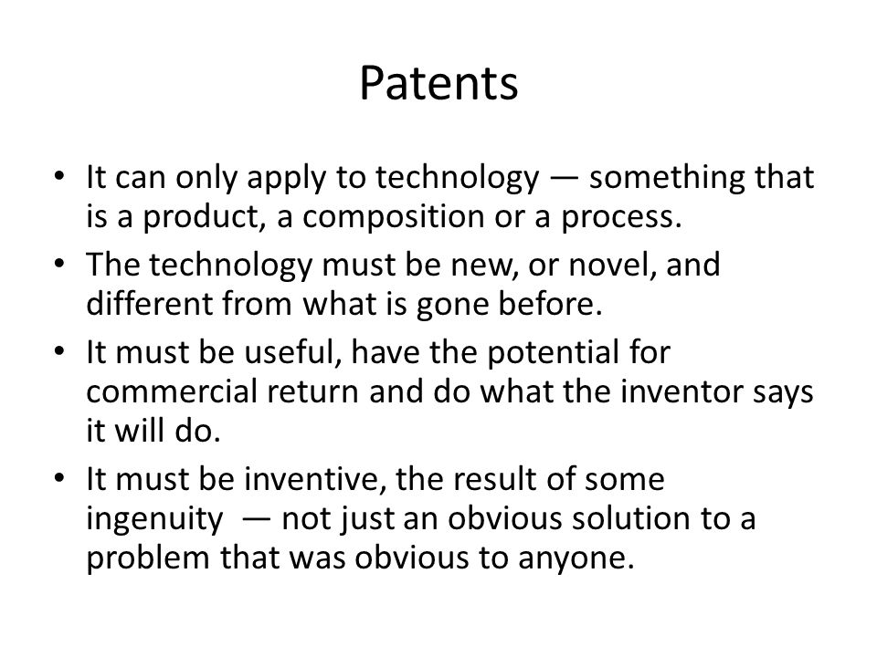 Patents Subject to the provisions of paragraphs 2 and 3, patents shall be available for any inventions, whether products or processes, in all fields of technology, provided that they are new, involve an inventive step and are capable of industrial application.