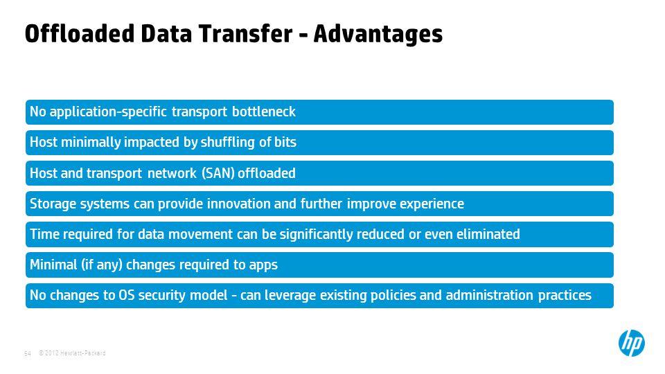 © 2012 Hewlett-Packard 64 Offloaded Data Transfer - Advantages No application-specific transport bottleneckHost minimally impacted by shuffling of bit