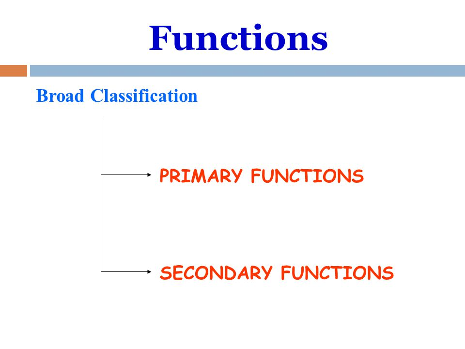 Functions Broad Classification PRIMARY FUNCTIONS SECONDARY FUNCTIONS