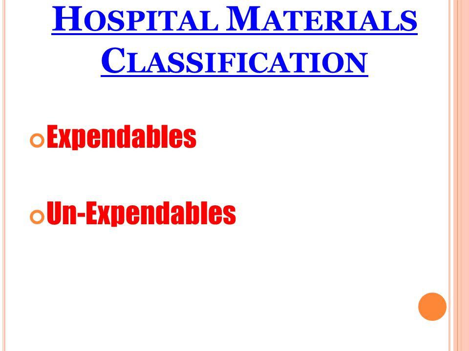 H OSPITAL M ATERIALS C LASSIFICATION Expendables Un-Expendables