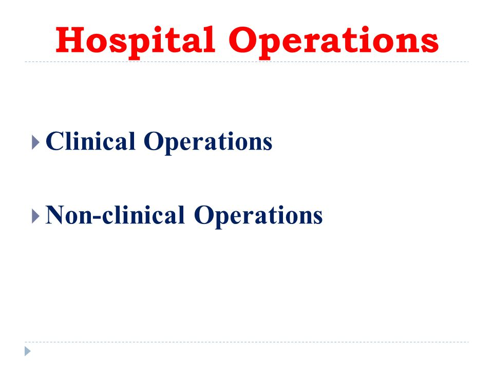 Hospital Operations Clinical Operations Non-clinical Operations