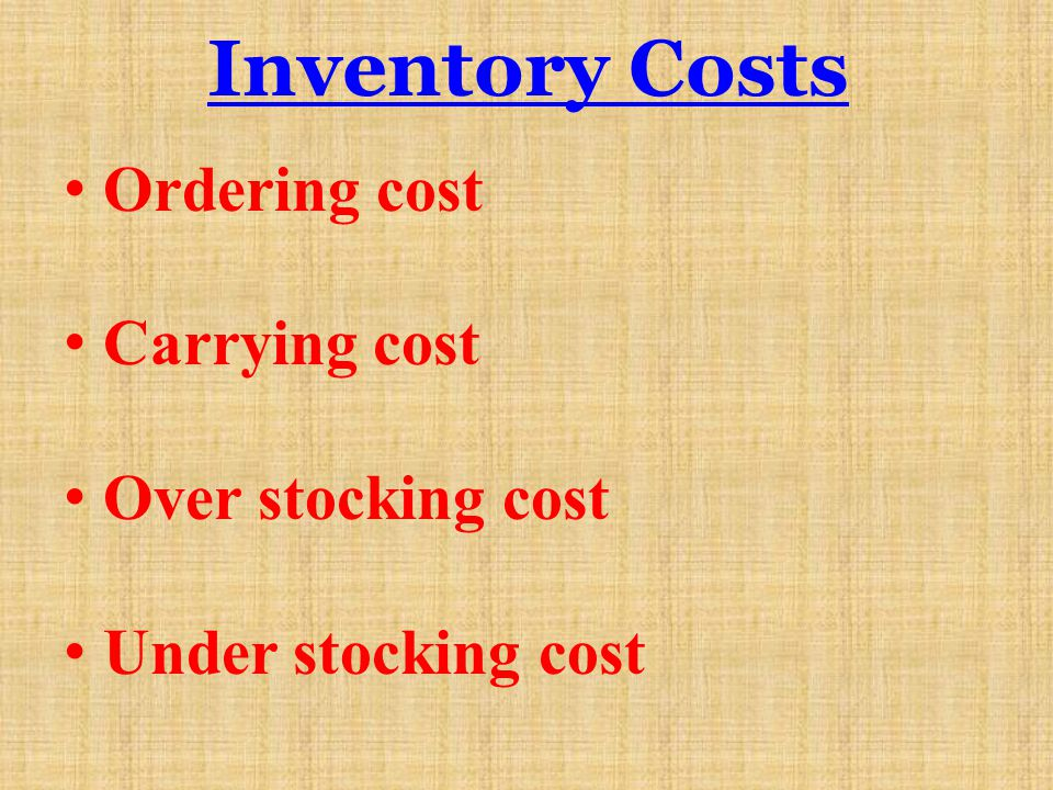 Inventory Costs Ordering cost Carrying cost Over stocking cost Under stocking cost