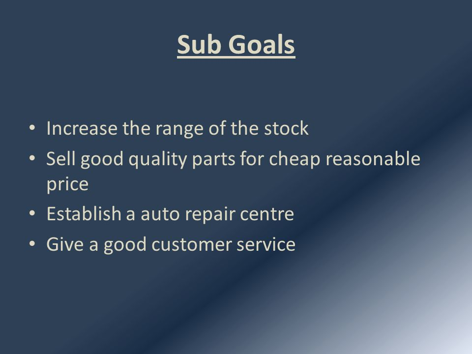 How to achieve these goals Increase the range of the stock Make a network with international & local dealers.