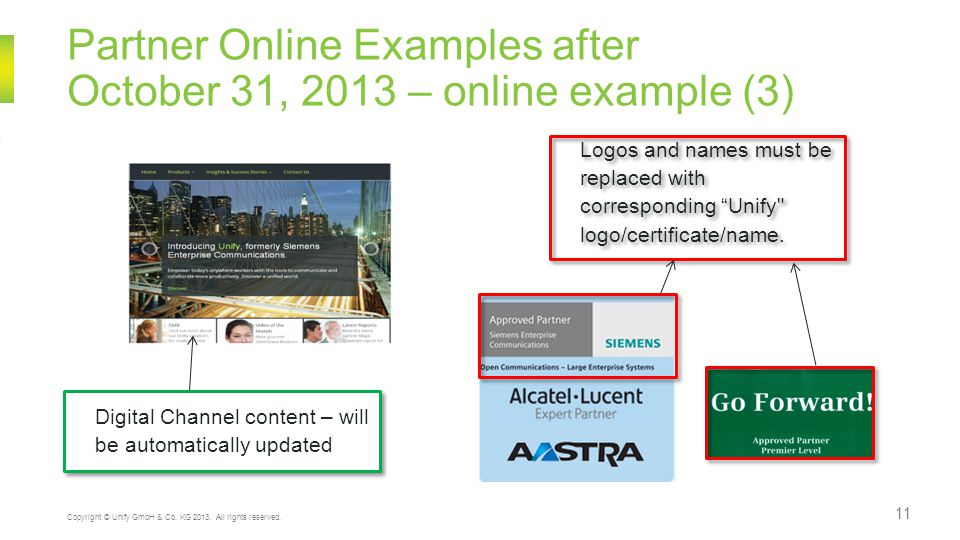 Partner Online Examples after October 31, 2013 – online example (3) 11 Copyright © Unify GmbH & Co.