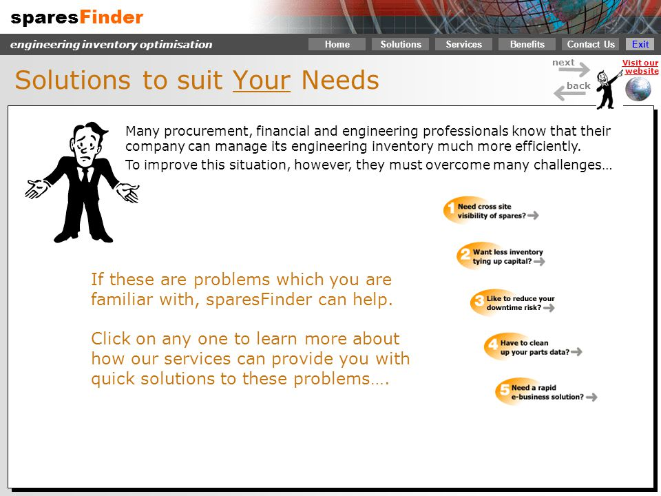 sparesFinder Contact Us Services SolutionsBenefits engineering inventory optimisation next back Visit our website Home Exit Click here to continue You