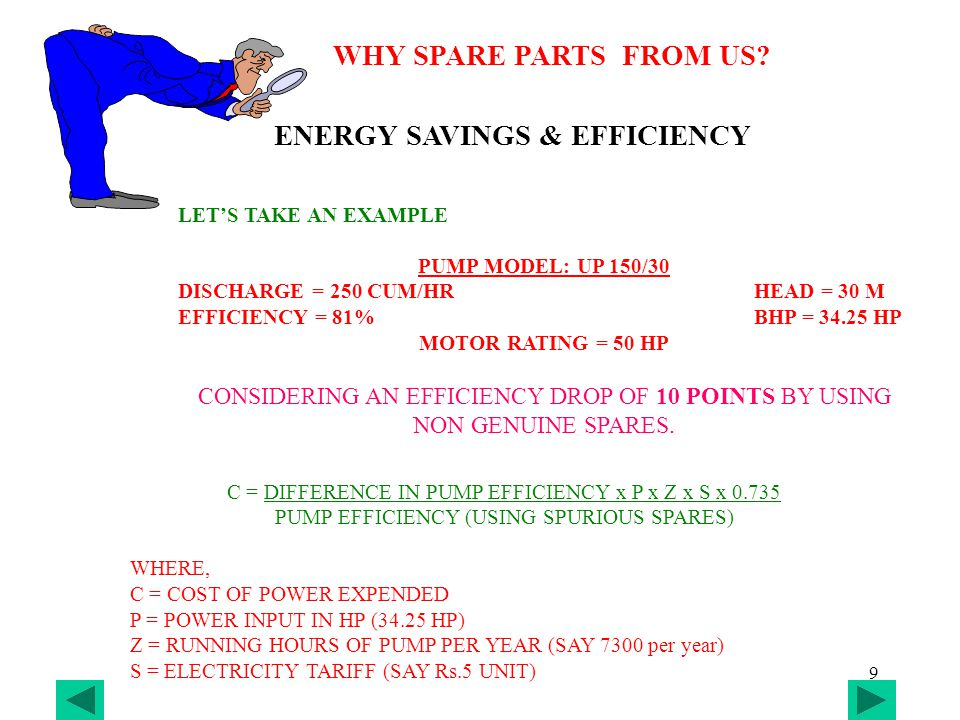 10 WHY SPAREPARTS FROM US.COST OF POWER EXPENDED = 10 * 34.25 * 7300 * 3 * 0.735 = Rs.