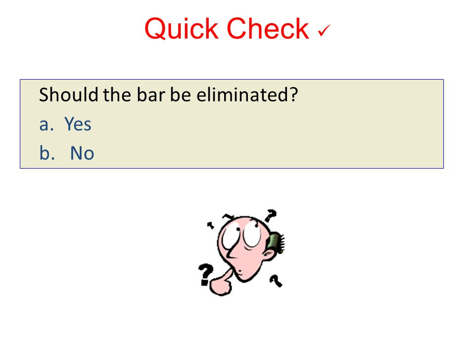 Quick Check Should the bar be eliminated? a. Yes b. No 10-171