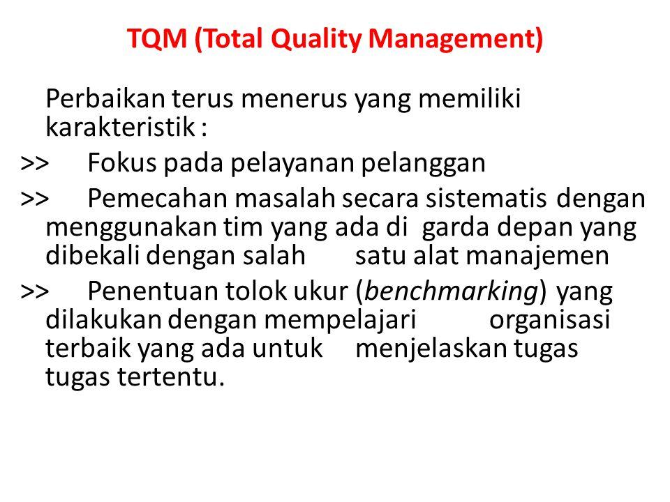 TQM (Total Quality Management) Perbaikan terus menerus yang memiliki karakteristik : >> Fokus pada pelayanan pelanggan >> Pemecahan masalah secara sis