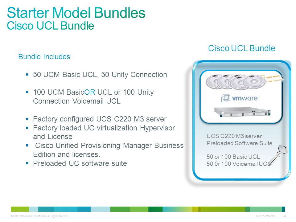 © 2010 Cisco and/or its affiliates. All rights reserved. Cisco Confidential 24 UCS C220 M3 server Preloaded Software Suite 50 or 100 Basic UCL 50 0r 1