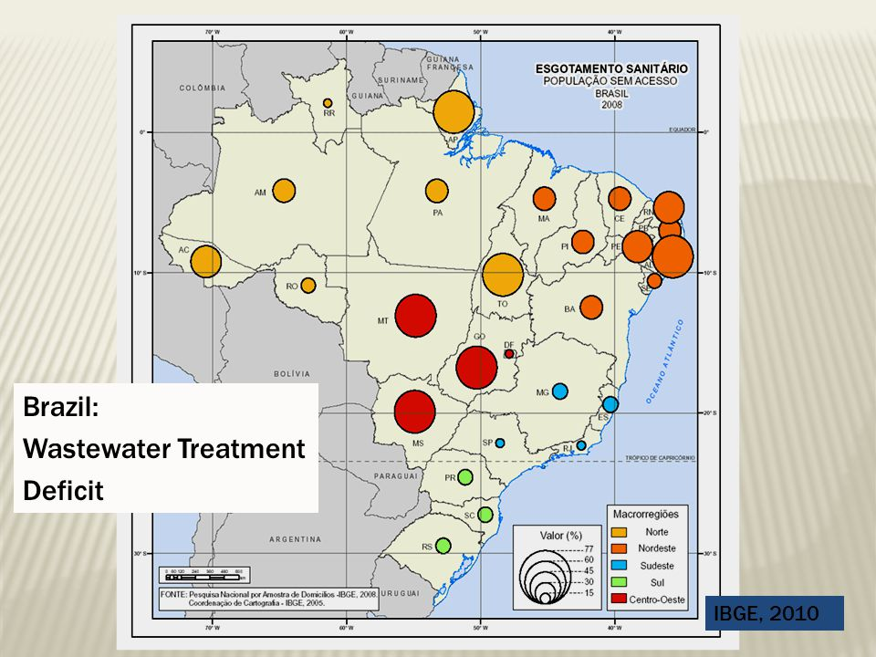 Brazil: Wastewater Treatment Deficit IBGE, 2010