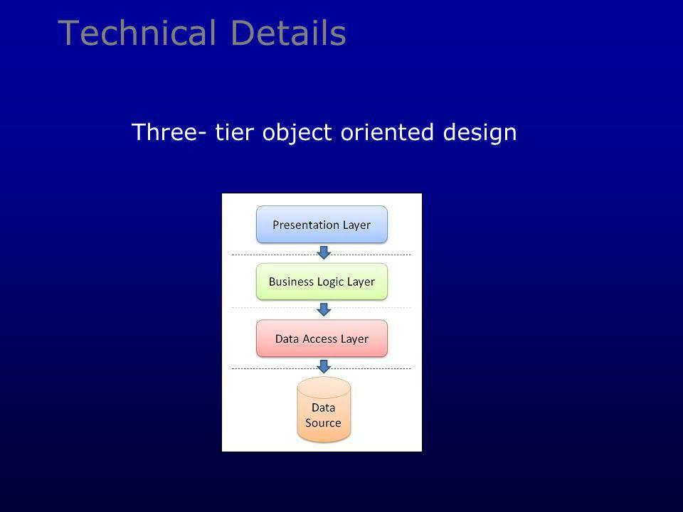 Technical Details Three- tier object oriented design