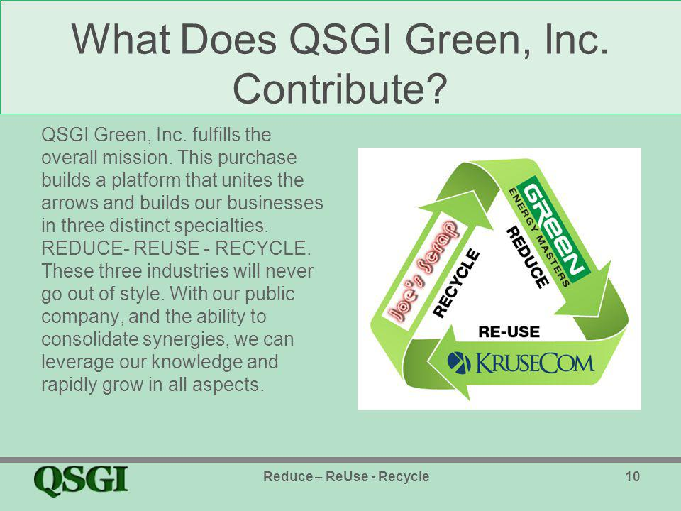 What Does QSGI Green, Inc. Contribute. QSGI Green, Inc.