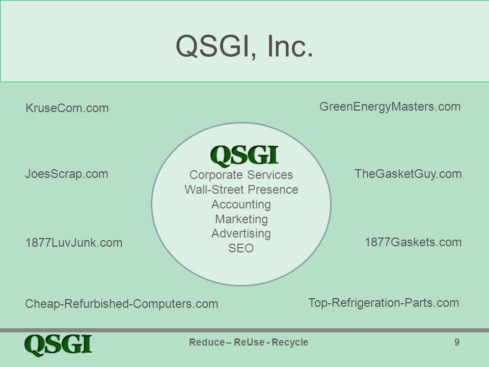 What Does QSGI Green, Inc.Contribute. QSGI Green, Inc.