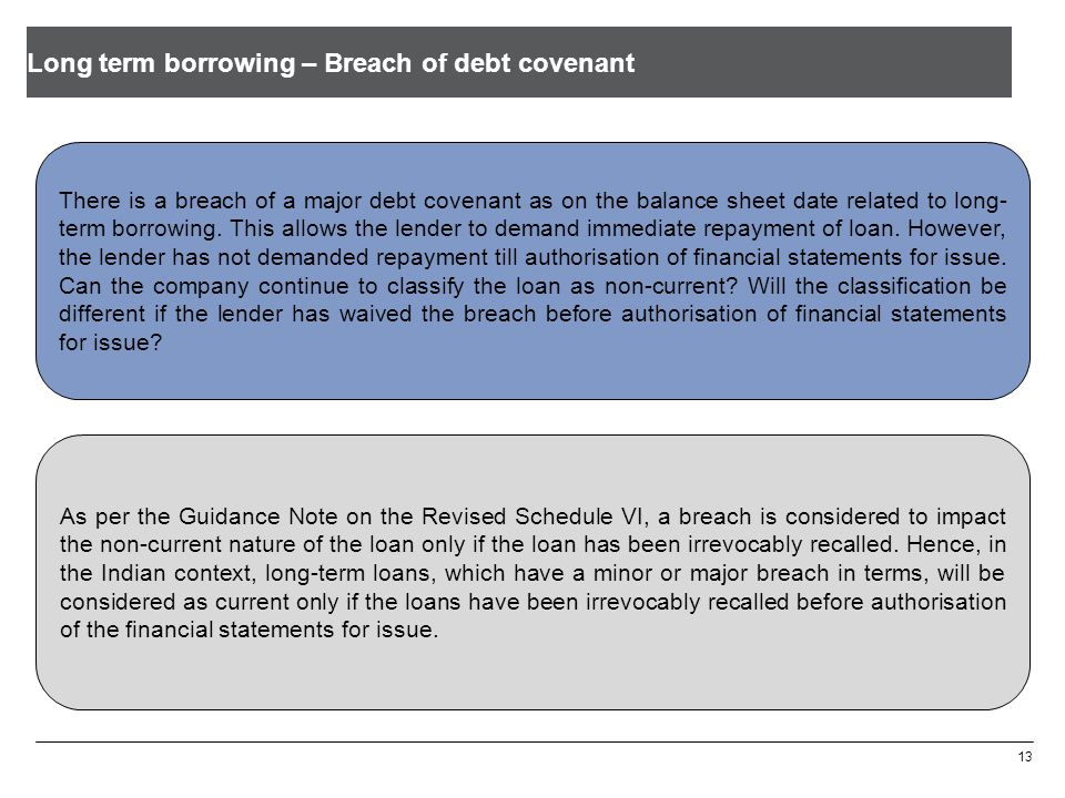 Long term borrowing – Breach of debt covenant 13 There is a breach of a major debt covenant as on the balance sheet date related to long- term borrowi