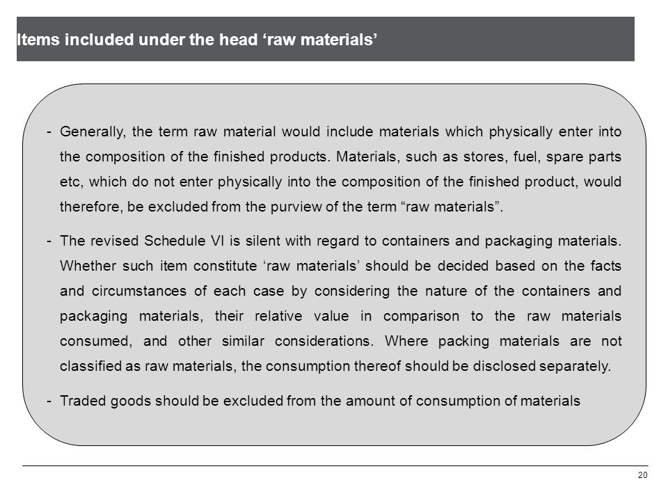 20 -Generally, the term raw material would include materials which physically enter into the composition of the finished products. Materials, such as