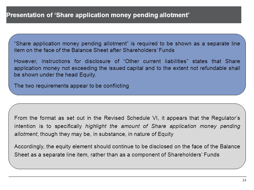 Presentation of Share application money pending allotment 24 Share application money pending allotment is required to be shown as a separate line item