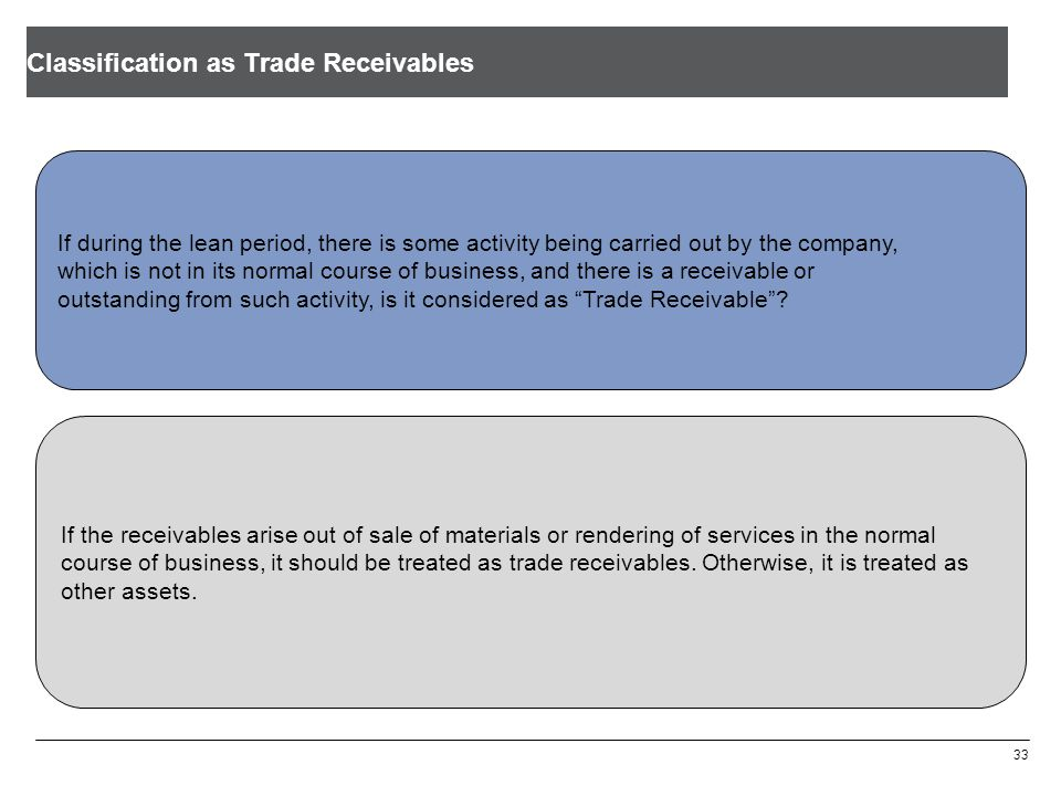 Classification as Trade Receivables 33 If during the lean period, there is some activity being carried out by the company, which is not in its normal