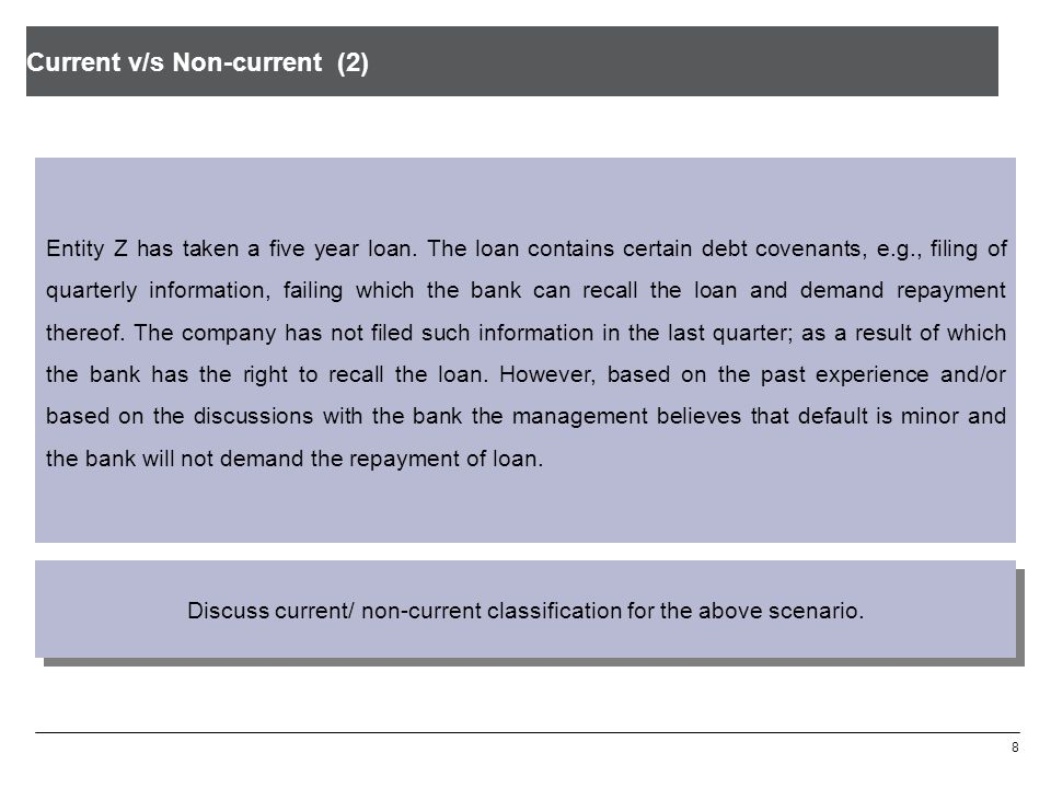 Current v/s Non-current (2) 8 Entity Z has taken a five year loan. The loan contains certain debt covenants, e.g., filing of quarterly information, fa