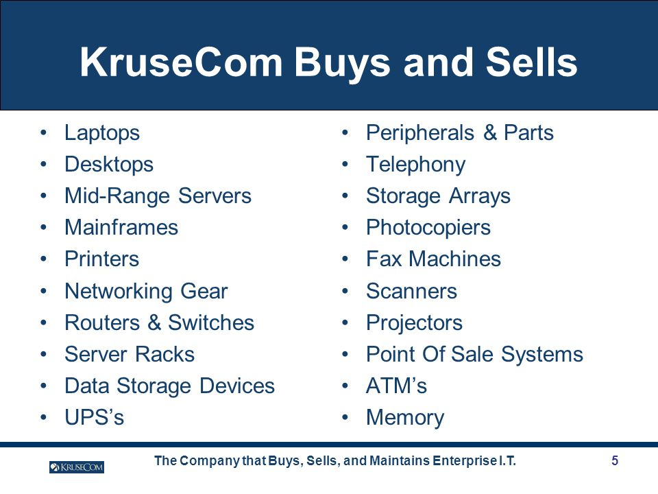 The Company that Buys, Sells, and Maintains Enterprise I.T.5 KruseCom Buys and Sells Laptops Desktops Mid-Range Servers Mainframes Printers Networking Gear Routers & Switches Server Racks Data Storage Devices UPSs Peripherals & Parts Telephony Storage Arrays Photocopiers Fax Machines Scanners Projectors Point Of Sale Systems ATMs Memory