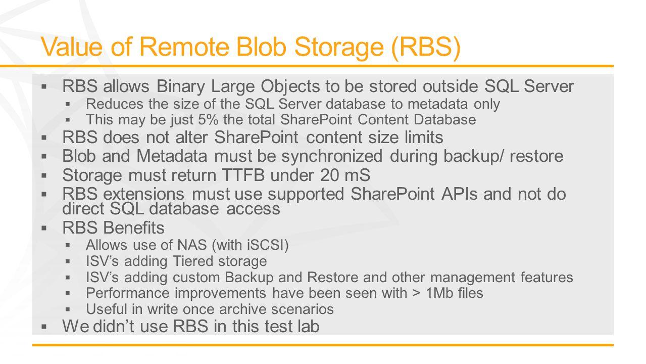 LUN LUN Description Size (GB) Reads IOPS (MAX) Writes IOPS (MAX) Total IOPS (MAX) IOPS per GB IOPS/GB from SQLIO IOPS from SQLIO G: Content DBs TranLog 4125,43711,92317,3608.4816.3 H:Content DBs 16,8505,20318,54623,7493.47 I:Content DBs 26,8505,28411,79117,0752.49 J:Content DBs 37,5005,63611,54417,1802.29 K:Content DBs 46,8505,40711,14616,5532.42 L: Service DBs TranLog 0.75,28510,80116,08631.4261.25 M:TempDB165,28211,08916,3717.9911.83 N:TempDB Log8.55,64011,79017,4298.5115.76 O:Content DBs 52,3885,40011,81817,2185.6010.26 P: Crawl/Admin DBs 4915,24911,21716,46716.0824.81 TOTAL:31,36553,824121,667175,491105,730 AVERAGE:3,1365,38212,16717,5495.622