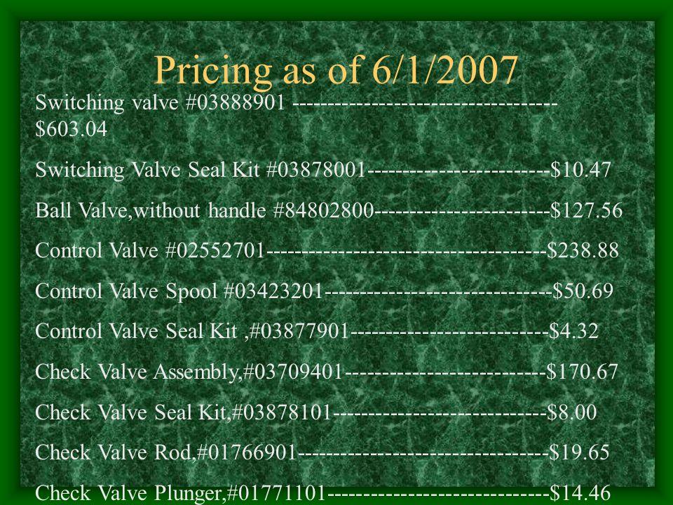 Pricing as of 6/1/2007 Switching valve #03888901 ------------------------------------ $603.04 Switching Valve Seal Kit #03878001----------------------