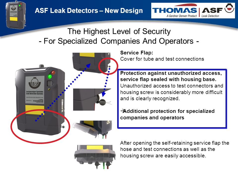 ASF Leak Detectors – New Design Präsentation neuer LAG Newsletter.ppt 4 The Highest Level of Security - For Specialized Companies And Operators - Protection against unauthorized access, service flap sealed with housing base.