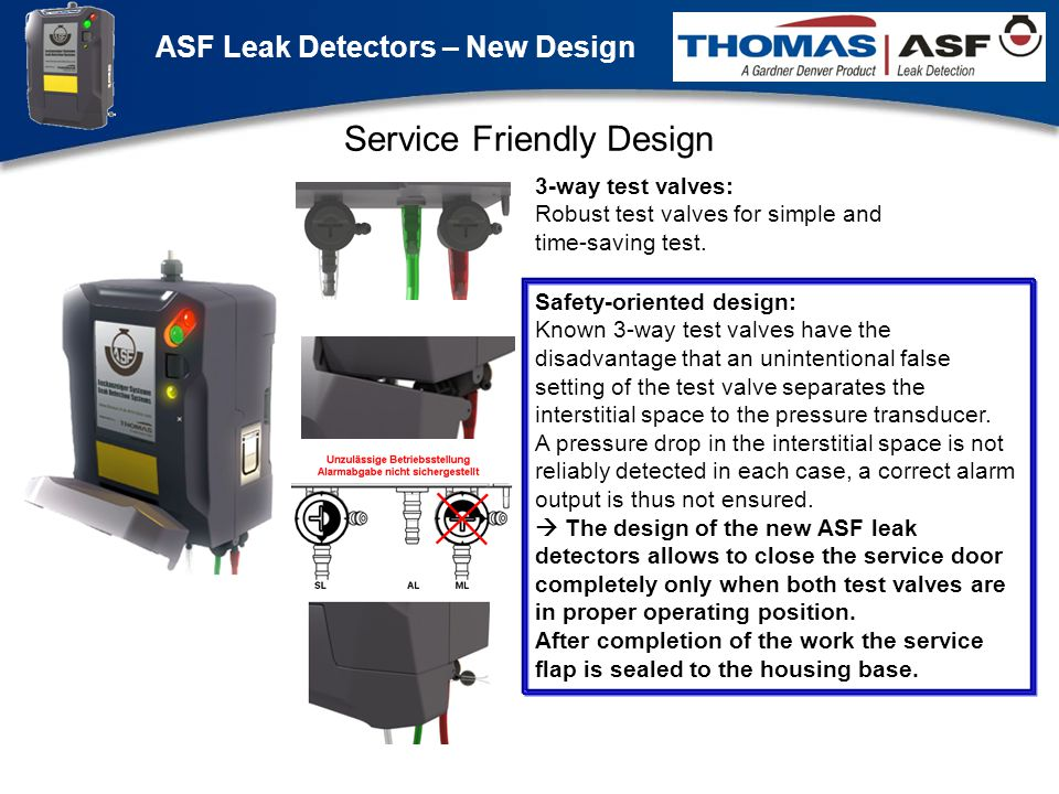 ASF Leak Detectors – New Design Präsentation neuer LAG Newsletter.ppt 5 Service Friendly Design Safety-oriented design: Known 3-way test valves have the disadvantage that an unintentional false setting of the test valve separates the interstitial space to the pressure transducer.