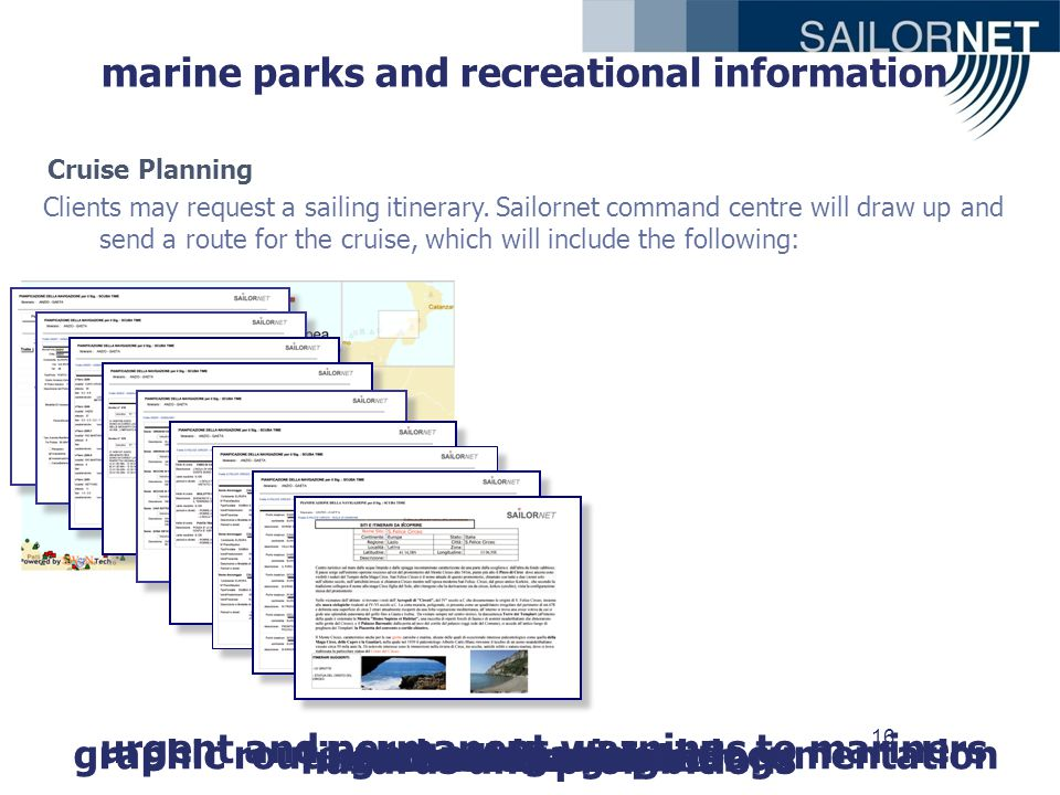 16 graphic route and navigational documentation information on landingslights and lanterns urgent and permanent warnings to mariners hazards and prohibitions coast descriptionanchoragescoastal sailing marine parks and recreational information Clients may request a sailing itinerary.
