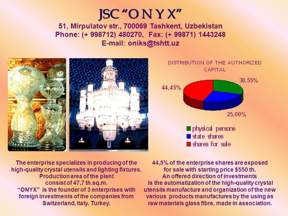JSC A L G O R I T M JSC A L G O R I T M avenue-6, 71, Usmanov str., 700208 Tashkent, Uzbekistan Phone: (+998712) 748030, Fax: (99871) 1704620 E-mail: algoritm@sarkor.uz The enterprise specializes in producing of computer facilities.