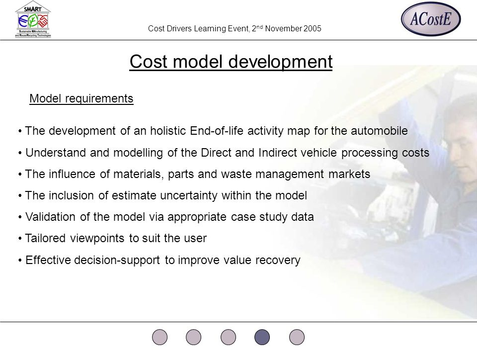 Cost Drivers Learning Event, 2 nd November 2005 Cost model development The development of an holistic End-of-life activity map for the automobile Understand and modelling of the Direct and Indirect vehicle processing costs The influence of materials, parts and waste management markets The inclusion of estimate uncertainty within the model Validation of the model via appropriate case study data Tailored viewpoints to suit the user Effective decision-support to improve value recovery Model requirements