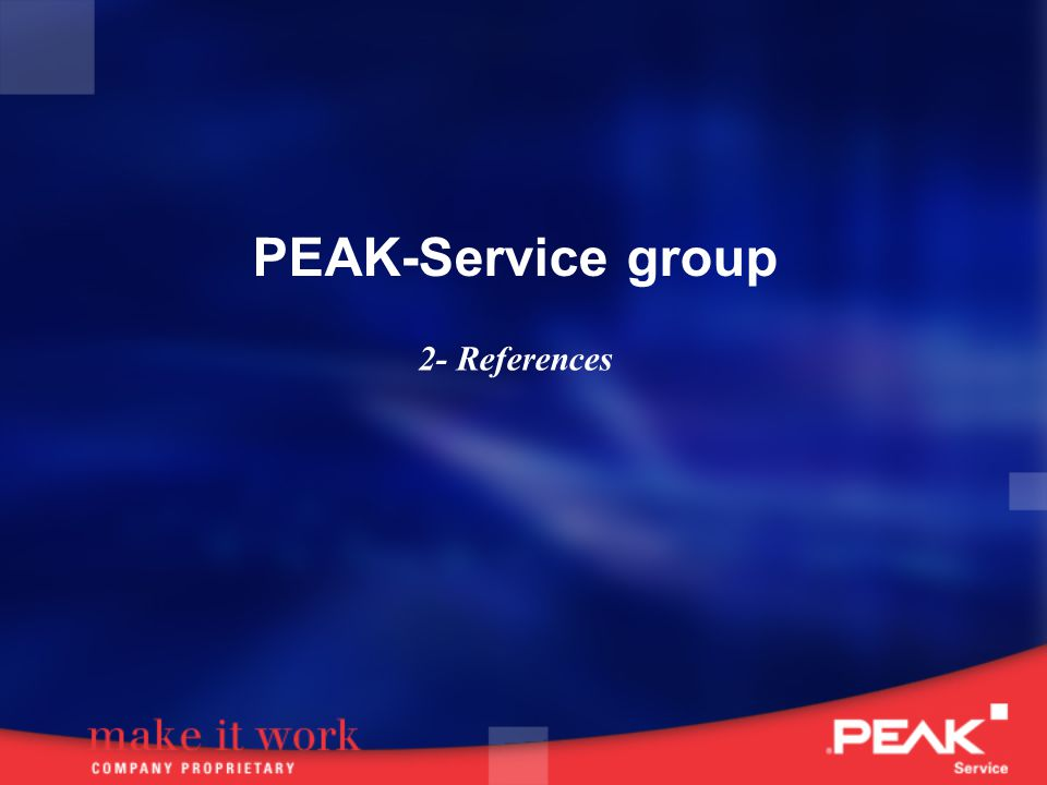 PEAK-Service group 2- References