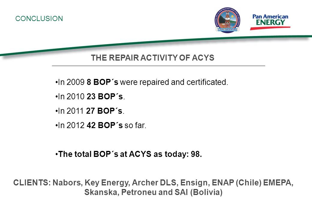 CONCLUSION In 2009 8 BOP´s were repaired and certificated.