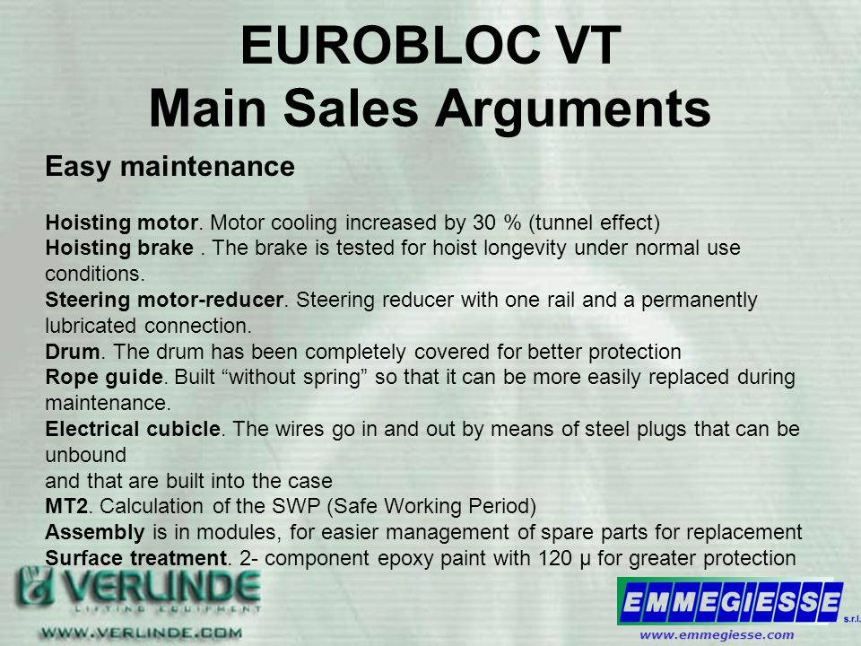 EUROBLOC VT Main Sales Arguments Easy maintenance Hoisting motor.