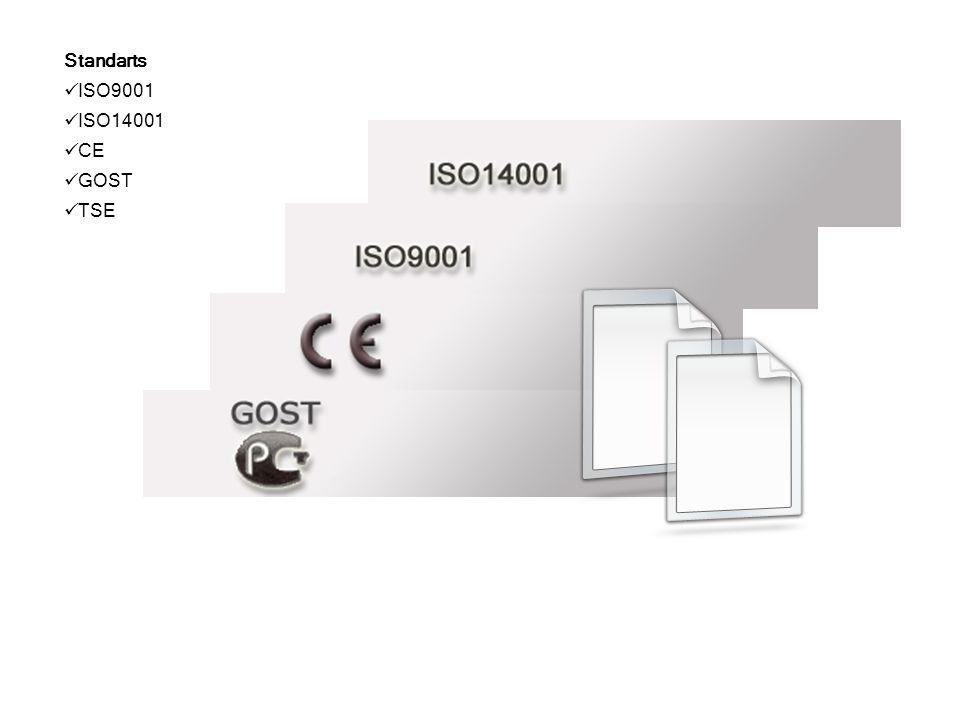 Standarts ISO9001 ISO14001 CE GOST TSE