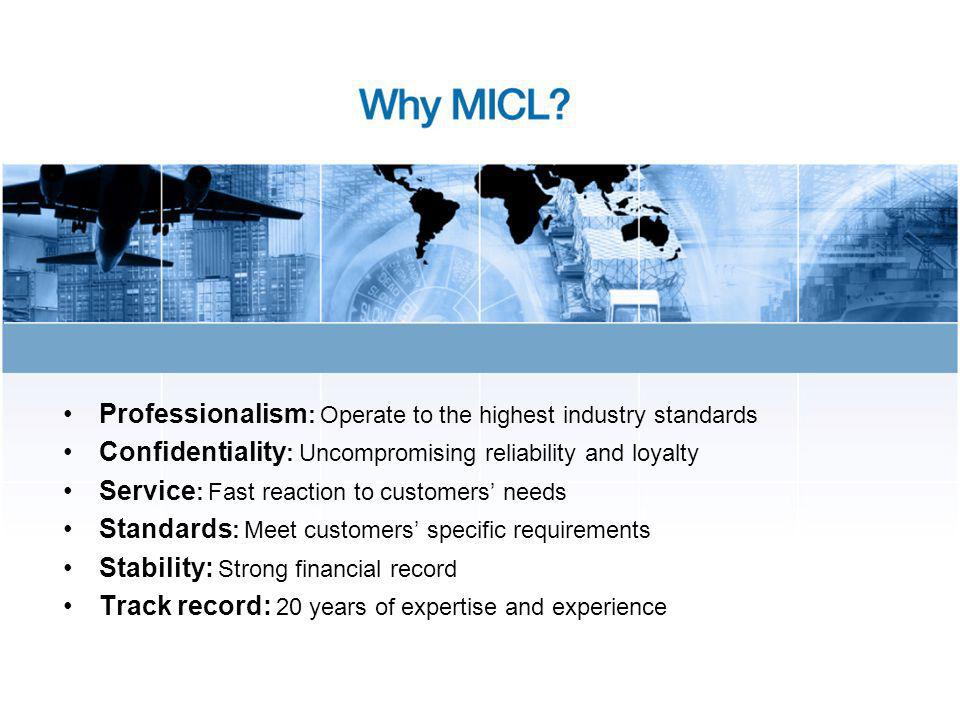 Professionalism : Operate to the highest industry standards Confidentiality : Uncompromising reliability and loyalty Service : Fast reaction to customers needs Standards : Meet customers specific requirements Stability: Strong financial record Track record: 20 years of expertise and experience