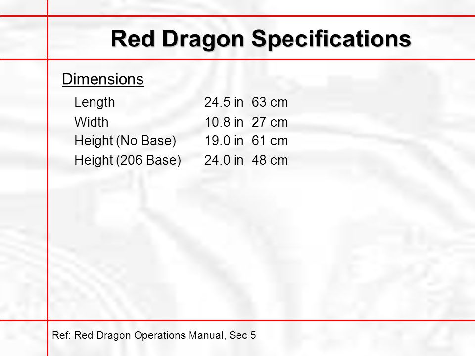 Red Dragon Specifications Dimensions Length24.5 in63 cm Width10.8 in27 cm Height (No Base)19.0 in61 cm Height (206 Base)24.0 in48 cm Ref: Red Dragon Operations Manual, Sec 5