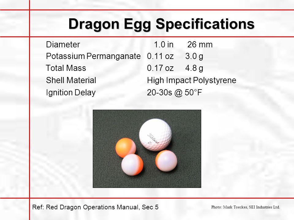 Dragon Egg Specifications Diameter 1.0 in 26 mm Potassium Permanganate0.11 oz3.0 g Total Mass0.17 oz4.8 g Shell MaterialHigh Impact Polystyrene Ignition Delay20-30s @ 50°F Photo: Mark Toeckes, SEI Industries Ltd.