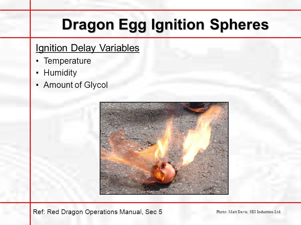Dragon Egg Ignition Spheres Ignition Delay Variables Temperature Humidity Amount of Glycol Photo: Matt Davis, SEI Industries Ltd.