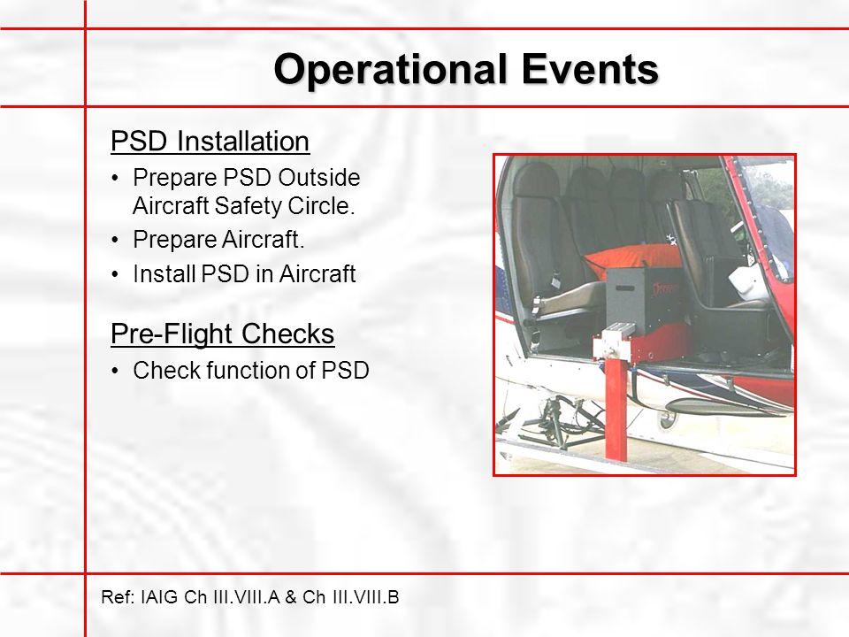 Operational Events Ref: IAIG Ch III.VIII.A & Ch III.VIII.B PSD Installation Prepare PSD Outside Aircraft Safety Circle.