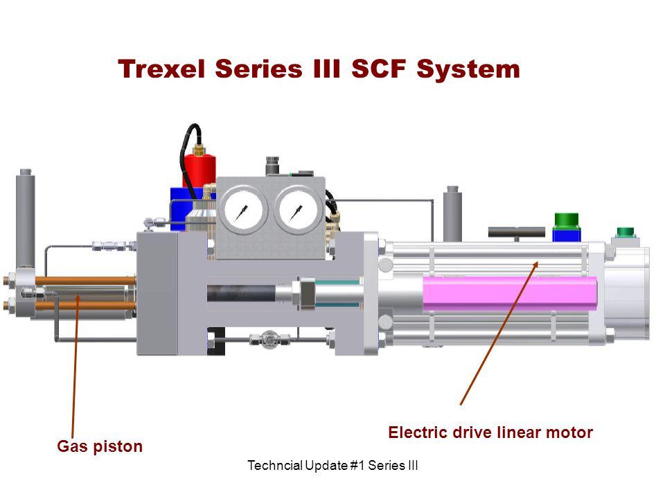Techncial Update #1 Series III Trexel Series III SCF System Electric drive linear motor Gas piston
