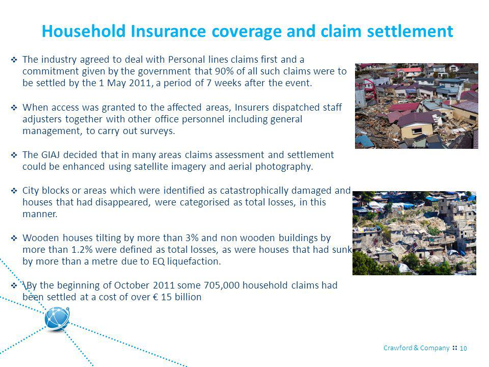 Crawford & Company 10 Household Insurance coverage and claim settlement The industry agreed to deal with Personal lines claims first and a commitment