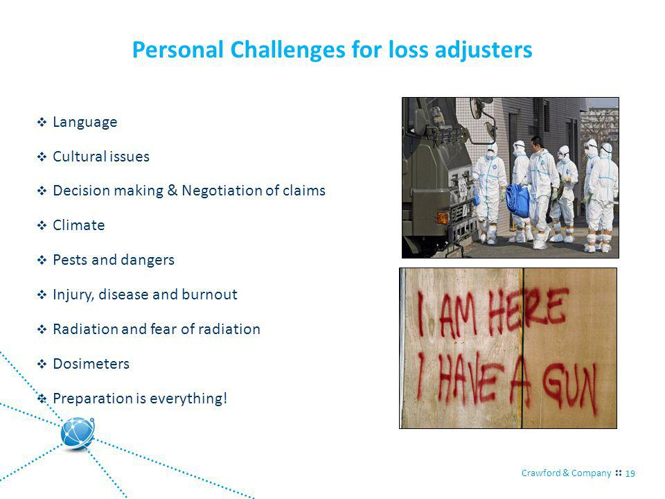 Crawford & Company 19 Personal Challenges for loss adjusters Language Cultural issues Decision making & Negotiation of claims Climate Pests and dangers Injury, disease and burnout Radiation and fear of radiation Dosimeters Preparation is everything!