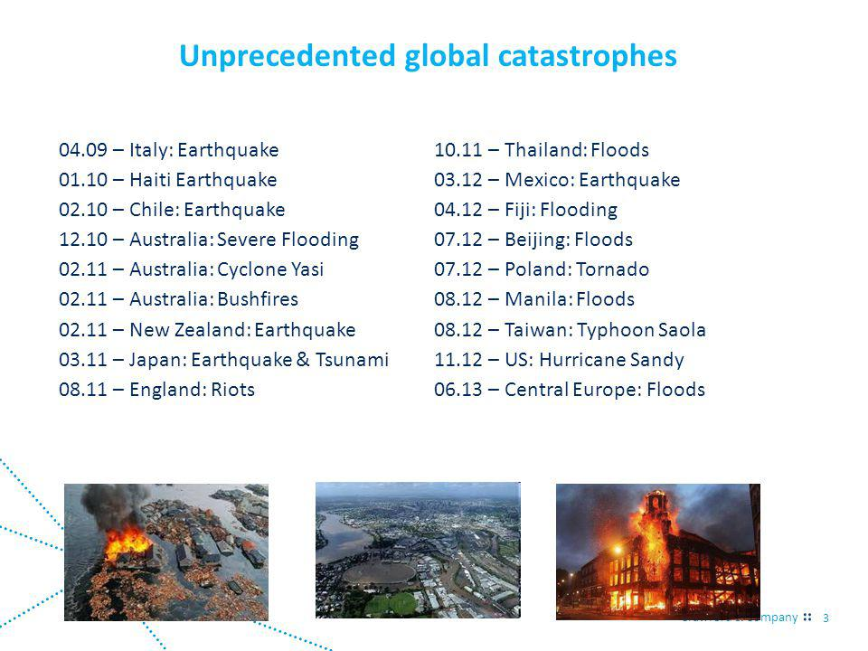 Crawford & Company 3 04.09 – Italy: Earthquake 01.10 – Haiti Earthquake 02.10 – Chile: Earthquake 12.10 – Australia: Severe Flooding 02.11 – Australia: Cyclone Yasi 02.11 – Australia: Bushfires 02.11 – New Zealand: Earthquake 03.11 – Japan: Earthquake & Tsunami 08.11 – England: Riots 10.11 – Thailand: Floods 03.12 – Mexico: Earthquake 04.12 – Fiji: Flooding 07.12 – Beijing: Floods 07.12 – Poland: Tornado 08.12 – Manila: Floods 08.12 – Taiwan: Typhoon Saola 11.12 – US: Hurricane Sandy 06.13 – Central Europe: Floods Unprecedented global catastrophes