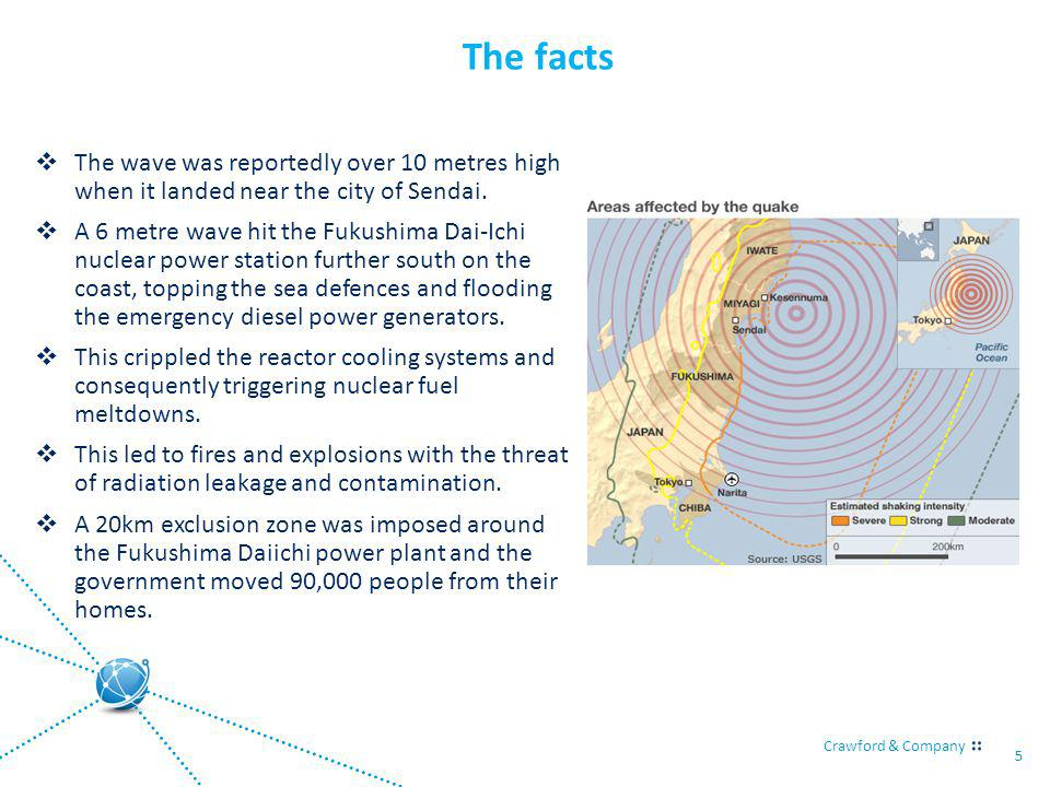 Crawford & Company 5 The facts The wave was reportedly over 10 metres high when it landed near the city of Sendai. A 6 metre wave hit the Fukushima Da