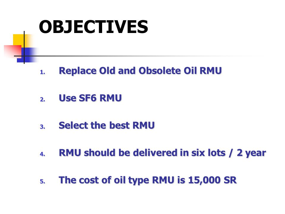 OBJECTIVES 1.Replace Old and Obsolete Oil RMU 2. Use SF6 RMU 3.